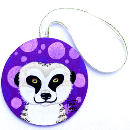 meerkat ornament with ribbon