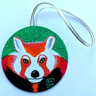 red panda ornament with ribbon